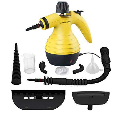 Comforday Surface & Much Multi-Purpose Handheld Pressurized Steam Cleaner with 9 Piece Accessories for Stain Removal, Carpets, Curtains, Car Seats, Kitchen Surface and Much More (Yellow) (Pressurized Steam Washer)