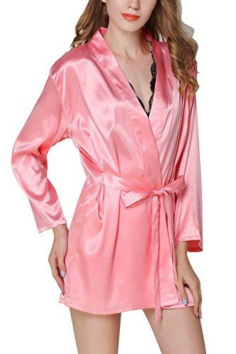 ricamo Pigiama 2 Raso Chemise da biancheria da notte Donna 1 Pigiami Notte Sexy seta Lusso Camicia intima con Kimono Vestaglia Pink Dolamen in Pigiama Fiore in amp; Camicia pigiameria wqZ1ySgcqR