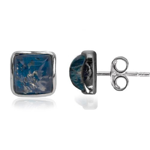 Blue Green Amber Sterling Silver Square Contemporary Small Stud (Silver Green Amber Earrings)