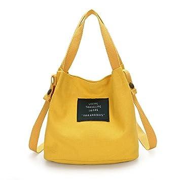 TOOGOO Bolso de Lona de Mujer de Moda Monedero Bolso Bolsa de Hombro Bolsa de Viaje Linda Bolsa Cubo de Viaje Linda Amarillo