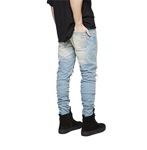 Casuale Homieco™ Uomo Jeans Denim Strappato Distrutto Blu Pantaloni Sdrucito Destroyed r0U0w4qgAx