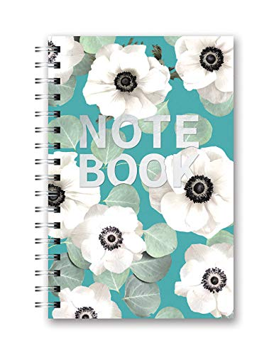 Studio Oh! Hardcover Medium Spiral Notebook Available in 9 Designs, Floral Expressions White Flowers on Slate Blue