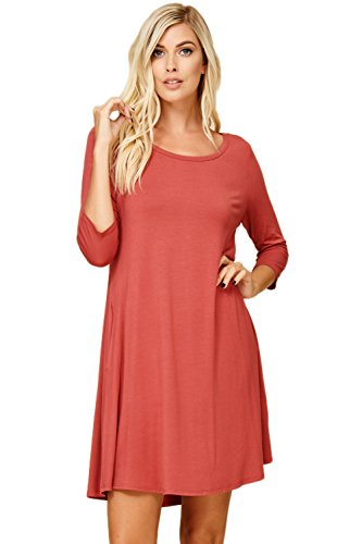 Annabelle Women's Relaxed 3/4 Sleeve Scoop Neck Solid Flowy A-Line Mini Length Dress with Two Side Slant Pockets Brick Medium ()