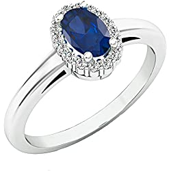 14K Gold Oval Cut Blue Sapphire & Round White Diamond Ladies Bridal Halo Engagement Ring