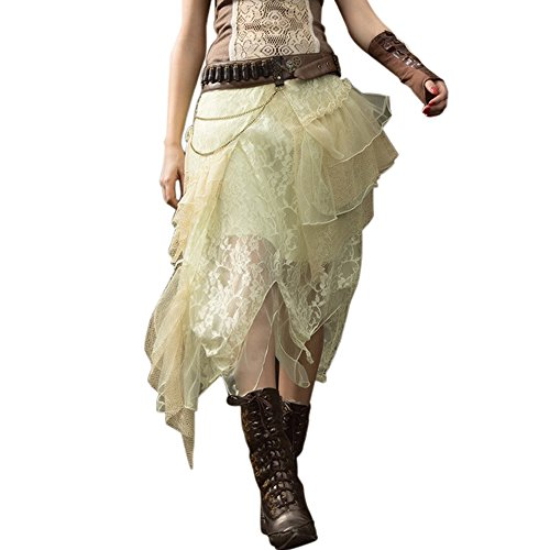 Steampunk Victorian Lace Skirt Gothic Punk Clothing Pirate Renaissance Costume (Plus Size Victorian Costumes)