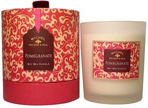 - Michel Pomegranate Soy Wax Candle 14 Oz. In Frosted Glass