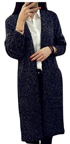 [エムズ ミミ] ロングカーディガン コーディガン ポケット付き 体型カバー グレー キャメル ブラック