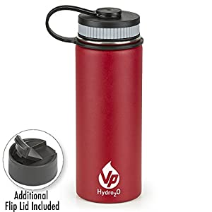 VP Hydro2o Double-Walled Vacuum Insulated 18/8 Stainless Steel Power Coated Water Bottle Includes Flip Top and Wide Mouth Lid, 18oz. (Cardinal Red)