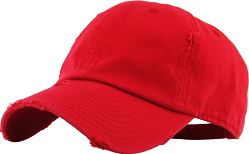 KBETHOS Vintage Washed Distressed Cotton Dad Hat Baseball Cap Adjustable Polo Trucker Unisex Style Headwear (Vintage) Red Adjustable