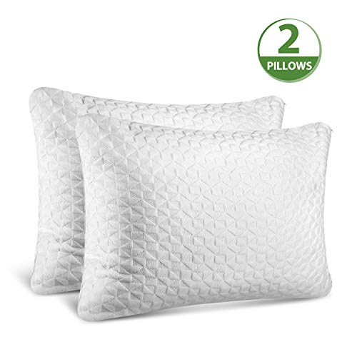 SORMAG Adjustable Shredded Memory Foam Pillows for Sleeping (2 Pack), Bamboo Cooling Bed Pillows Neck Support for Back, Stomach, Side Sleepers-Standard Size