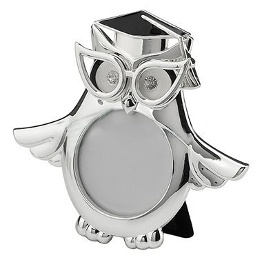 XoticBrands Graduation Owl Wings Expanded Round Shape Photo Frame - Animal