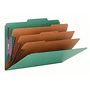 "Smead Pressboard Classification File Folder with SafeSHIELD Fasteners, 3 Dividers, 3"" Expansion, Legal Size, Green, 10 per Box (19097)"