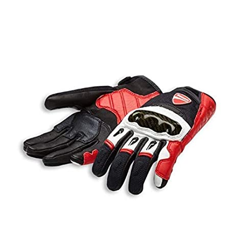 Ducati Handschuhe Company C1 aus Leder und Stoff rot//weiß//schwarz NEU
