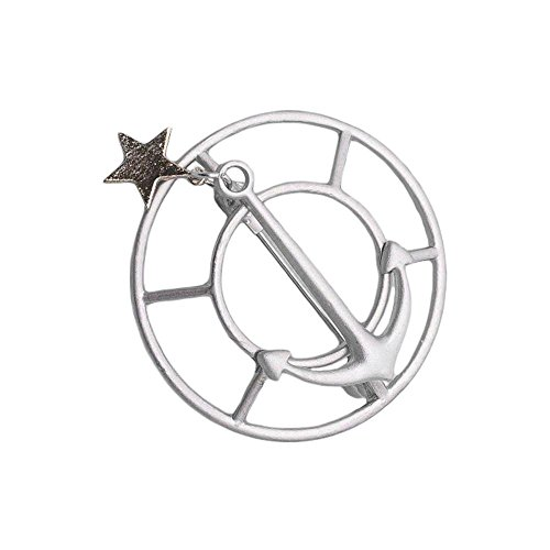 wholesale Red Cube Silvertone Brooch Anchor Sea Ocean Marine Navy Star Pin Jewelry (Anchor)