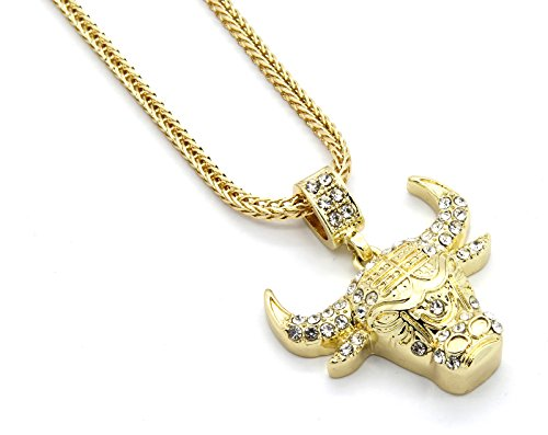 Mens Gold Tone Iced Out Bull Small Pendant with 3mm 24
