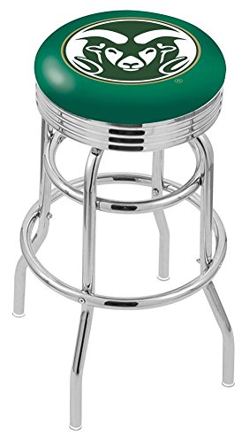 "Logo Series Bar Stool NCAA Team: Colorado State University, Size: 25"", Frame Type: Double Ring Chrome"