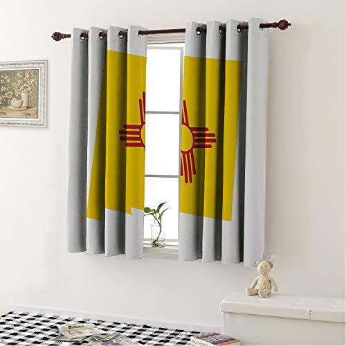 (Mozenou Thermal Insulated Blackout Curtains New Mexico Waving State Flag as Map Shape Land of Enchantment Print Earth Yellow Vermilion and White/Drapes/Panels for Kid's Room 55 by 39 in)