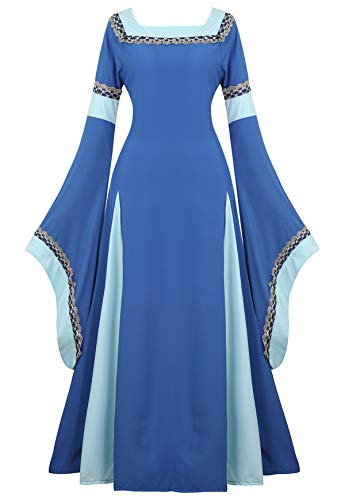 Famajia Womens Medieval Renaissance Costume Cosplay Victorian Vintage Retro Gown Long Dress Blue Small