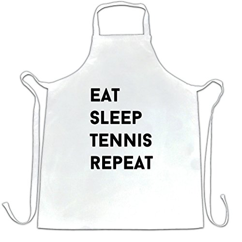Funny Sports Chefs Apron Eat, Sleep, Tennis, Repeat Slogan White One Size