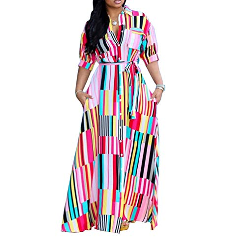 Womens Button Down Dress Casual - Half Sleeve Rainbow Striped Flowy Party Long Maxi Shirt Dresses with Belt Pink X-Large
