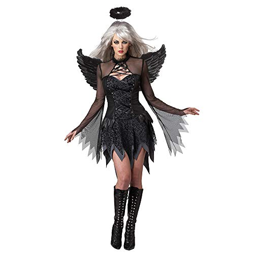 Svance Women's Fancy Dress Halloween Costume- One-Piece Black Angel Dress with Feather Angel Wings and Headband]()