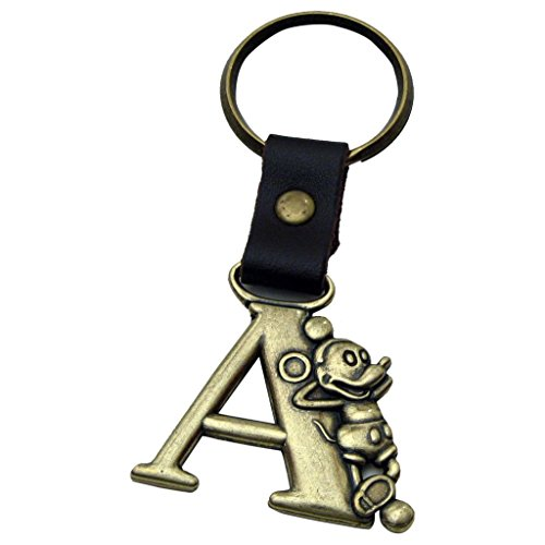 Mickey Mouse Letter A Brass Key Chain