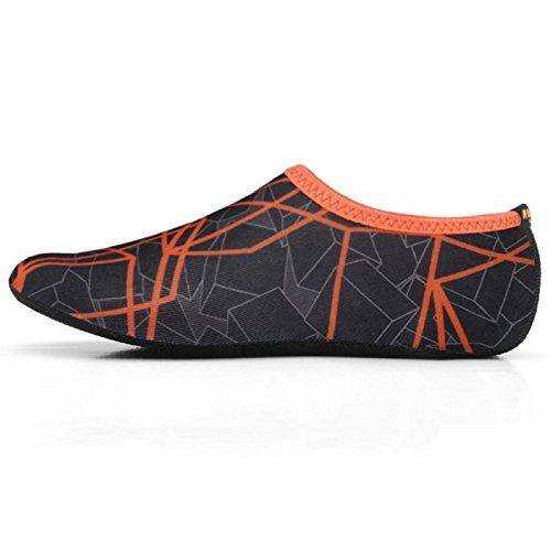 WOWFOOT Water Skin Shoes Aqua Socks Flexible Beach Swim Surf Sand Pool Yoga Aerobics Exercise Durable Sole (1.XXS (US Youth 10 EUR 26), Orange-Black) from WOWFOOT