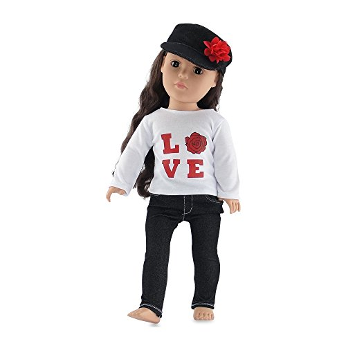 18-inch-doll-clothes-black-stretch-skinny-jeans-outfit-including-long-sleeved-t-shirt-with-love-rose
