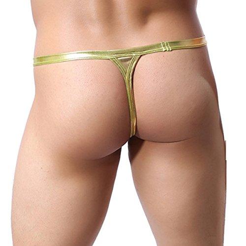 Sexy Men's T-back Underwear Faux Leather G-string&Thongs Bikini Panty(Gold M)