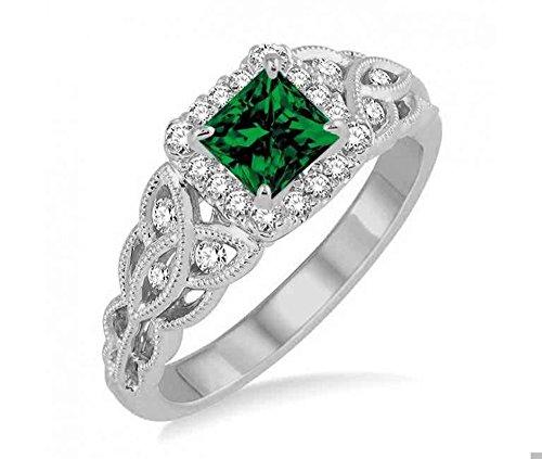 Diamond & Emerald Antique Ring - 7