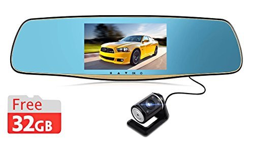 Rexing X80 Dual Lens Rear View Reverse Mirror Backup Car Camera with 1080P FHD Car Recorder, 5-Inch TFT LCD, 170-Degree Wide Angle Lens and 32GB Memory Card