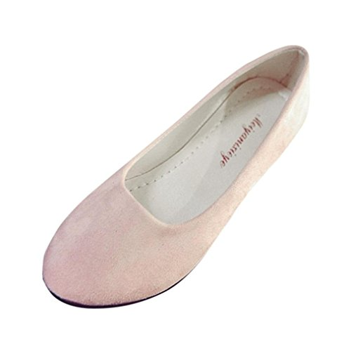 Ballet Classic Flats (SUKEQ Classic Women Comfort Slip On Work Shoes Casual Flat Ballet Shoes Loafers (7 B(M) US, Pink))
