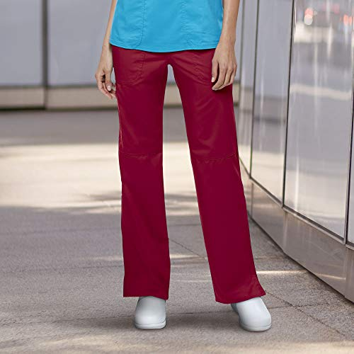 (Cherokee Women's Mid Rise Straight Leg Pull-on Pant, Red, Medium)
