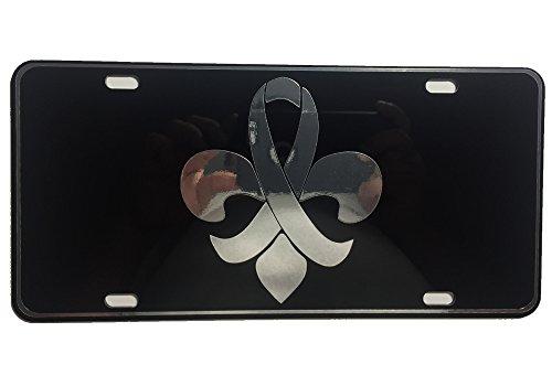 Black Mirror License Plate (CustoMonsterDesigns Breast Cancer Fleur De Lis License Plate Classy and Elegant Chrome Mirror Silver on Black Mirror License Plate S22)