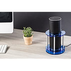 Acrylic Speaker Stand for Amazon Echo, UE Boom and Other Models - Protect and Stabilize Alexa by Wasserstein (Blue)