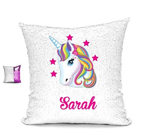 - BlueVStudio | Personalized Unicorn with Stars Reversible Sequin Pillow Case | Magic Pillow | Sequin Pillow Cover | Unicorn Pillow Case