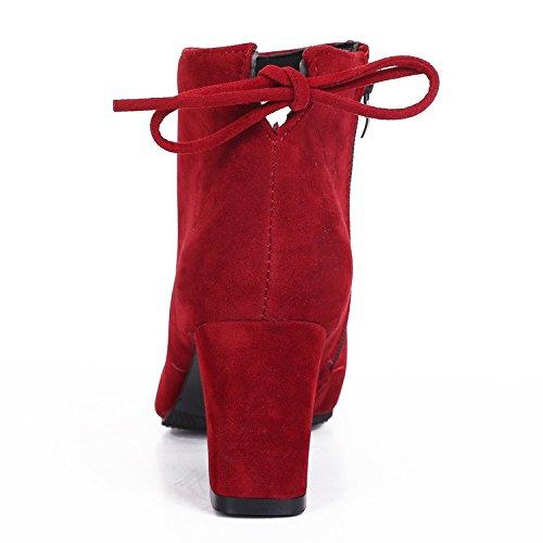 Kvinna Mode Mocka Pekade Tå Mitten Klackar Tillfälliga Tillbaka Spets Boots Red