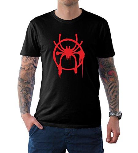 Decrum Mens Black Superhero Spiderman Tee Shirt | Spider-Verse, 2XL