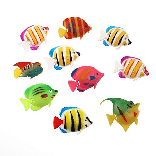 (YChoice Beautiful Ornament Plastic Fish Floating Fish 10pcs Artificial Moving Fishes Ornament Decorations for Aquarium for House Decoration)