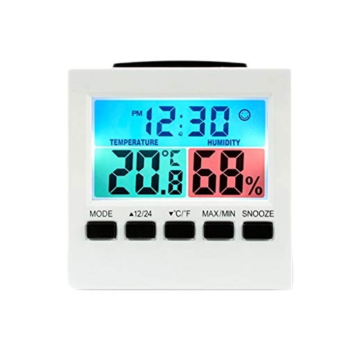 Home Digital LCD Screen Indoor Weather Forecast Alarm Clocks Desk Timer Calendar Temperature Humidity Monitor Clocks (Color : White, Size : - Table Forecast Lamp