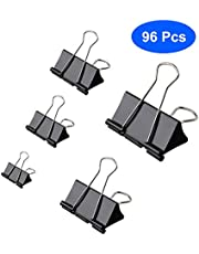 Aelfox 96 Pcs Binder Clips Assorted Sizes Paper Clamps, Black Mini/Small/Medium/Large/Extra Large 5 Sizes for Home, School and Office Supplies