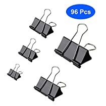 Aelfox 96 Pcs Binder Clips Assorted Sizes Paper Clamps, Black Mini/Small/Medium/Large/Extra Large 5 Sizes for Home, School and OfficeSupplies