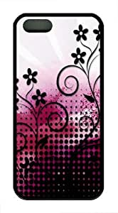 Flower Art TPU Silicone Case Cover for iPhone 5/5S Black