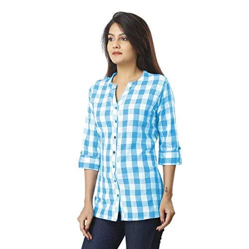 ASMANII Cotton Casual Formal Check Shirt for Women & Girls