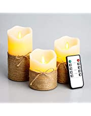 """Flameless Candles Flickering Candles Set of 3 (D:3"""" X H:4"""" 5"""" 6""""), Battery Operated Candles with Remote and Timer"""