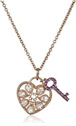 """Rose Gold-Plated Silver Morganite, Amethyst, Created White Sapphire Heart Lock and Key Pendant Necklace, 18"""""""