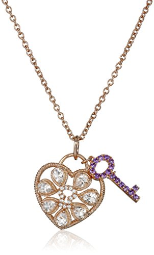 (Rose Gold-Plated Silver Morganite, Amethyst, Created White Sapphire Heart Lock and Key Pendant Necklace,)