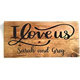 PERSONALIZED I LOVE US, Custom Handcrafted 14 x 7 Wood Sign with Golden Oak Finish, INCLUDES SAW TOOTH HANGER, WEDDING GIFT, RUSTIC COUNTRY DECOR, BIRTHDAY GIFT, by Heartland Country Decor