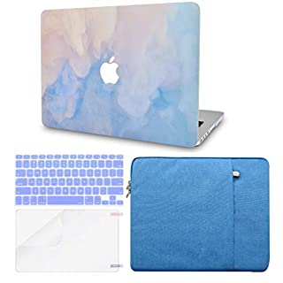 LuvCase 4 in 1 Laptop Case for MacBook Pro 16 Touch Bar (2020/2019) A2141 Hard Shell Cover, Sleeve, Keyboard Cover & Screen Protector (Blue Mist)