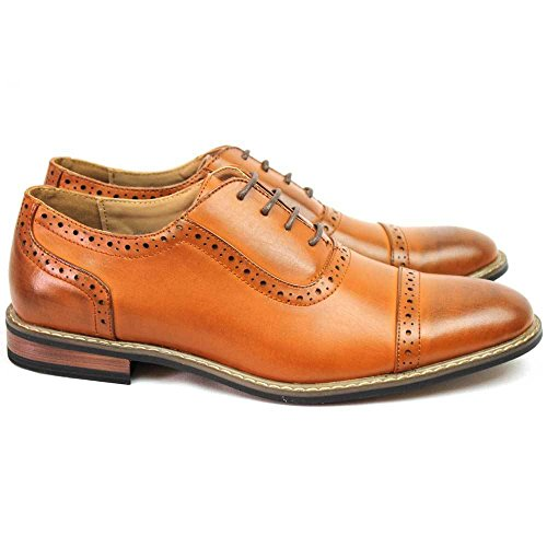 Parrazo New Mens Modern Cap Teen Cognac Brown Lace Up Oxfords Wooden 3